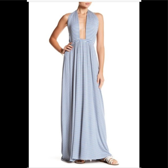 1185168daf NWOT Go Couture Halter Stripe Maxi Dress
